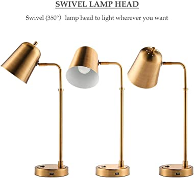 USB Desk Lamp with Rotary Shade, Brass Metal Desk Lamp, Eye-Caring Reading Lamp Gold Vintage Bedside Nightstand Table lamp fo