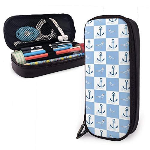 Anclas y pájaros en bloques Estuche portátil para lápices Lindo estuche para bolígrafos de cuero Organizador de escritorio con cremallera Soporte para bolígrafos de gran capacidad para escolares, niñ