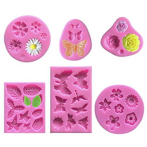 6 Pack Cake Fondant Mold Flower Daisy Roses Butterfly Collection, VASZOLA Silicone Fondant Gummy Candy Baking Mould DIY Tool for Sugarcraft Cake Decoration Cupcake Topper Polymer Clay Soap Wax Making