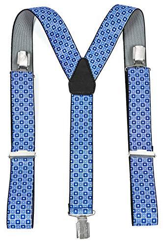 NB BLAUECK 2841 Bretelles flexibles pour homme Bleu Longueur réglable 3 cm