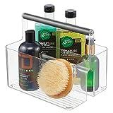 mDesign Caja organizadora para Cuarto de baño – Cesta con asa para el Almacenamiento de Productos cosméticos – Organizador de baño con 2 Compartimentos – Transparente y Gris Grafito