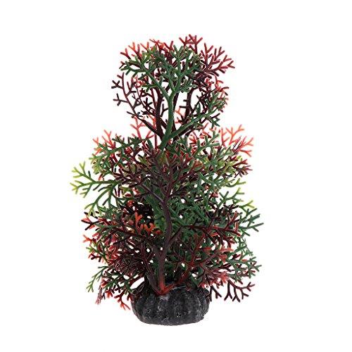 BUIDI Fish Tank Aquarium Plants Artificial Coral Water Grass Decoration Ornament New Pet Supplies Coffee&Green
