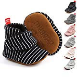 Baby Boys Girls Cotton Booties Fleece Infant Socks Non-Skid Soft Sole Stay On Newborn Slippers Winter Warm Crib Shoes(0-18 Months)(6-12 Months Infant,3-Black)