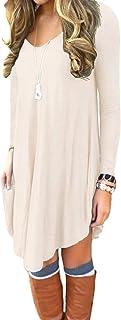 DEARCASE Women's Long Sleeve Casual Loose T-Shirt Dress