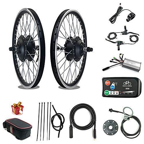 Kit Bici elettrica RICETOO 36V / 48V 500W Motore mozzo brushless con Ruota a Raggi Anteriori 16'20' 24'26' 27.5'28' 700C Kit di conversione Bici elettrica con KT-LED880 (36V 500W 27.5inch)