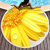 Chanpin Sunflower - Asciugamano da piscina, con nappa, per spiaggia e piscina, colore: arancione, Poliestere, bianco, 150cm