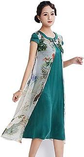 فستان أخضر طويل من الحرير الصيني الأساسي من HangErFeng Qipao مع فستان Cheongsam مزدوج الطبقات من الحرير