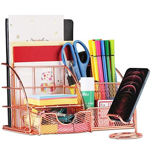 Aerb Schreibtisch Organizer mit Telefonständer, 6 Fächer - Schublade enthalten, Metall Mesh Schreibtisch Tidy Desktop Organizer für Home Office Supplies, Rose Gold