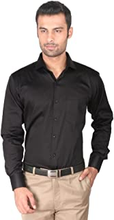 Zido Cotton Satin Stretch Black Solid Men's Shirt