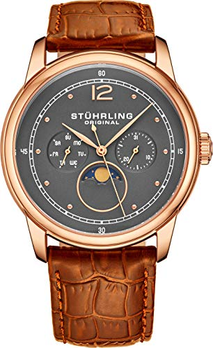 Stuhrling Original Mens MoonPhase Dress Watch - Stainless Steel Case and Brown...