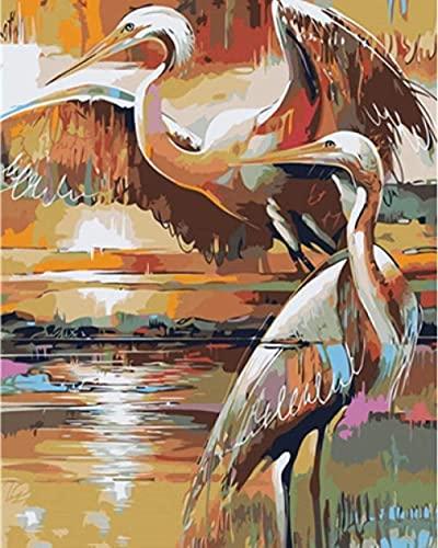 Peinture par numéro Kit de peinture pour adultes et enfants Décoration de la maison Peinture à l'huile Meilleur cadeau de vacances (sans cadre) - Grue