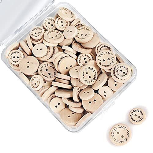 Naturales Botones de Madera, 150pcs Handmade with Love Botones de Madera para Manualidades Costura, Pequeño Botón Redondo con 2 Agujeros para Niños Scrapbooking Artesanía DIY Decoración (15 mm 20 mm)