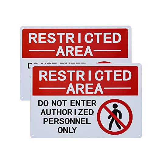 "dojune - 2 Stück Schild mit Aufschrift ""Restricted Area Authorized Personnel Only, Don Not Enter"""