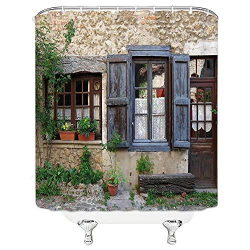 Mediterraner wasserdichter Duschvorhang,altes Haus Landschaft Badvorhang Polyestergewebe Home Bad Decor Gardinen S.12 150x180cm