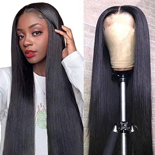 Mariska 4X4 Lace Front Wigs Human Hair Pre Plucked Brazilian Straight Human Hair Lace Closure Wigs for Black Women 150% Density Middle Part Human Hair Wigs (30inch, 4X4 lace closure wig)