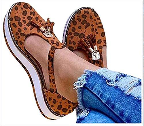 LONG-M Sandalias Planas con Punta Redonda Y Flecos para Mujer, Zapatos De Suela Gruesa con Estampado De Leopardo, Informales, para Playa,Leopard Print,37