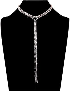 LIAO Jewelry 3 Row Rhinestone Choker Necklace Crystal Tassel Wide Collar Necklaces Gothic Diamond Charms for Women Girls