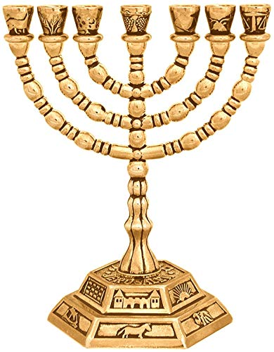 Menora Kerzenhalter aus vergoldet gemacht, von Israel, ein siebenarmiger Leuchter