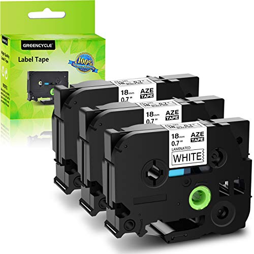 GREENCYCLE 3 Pack Compatible for Brother TZ241 TZe241 TZe-241 TZ-241 Black On White Label Tape Replacement for P Touch Labeler 18mm
