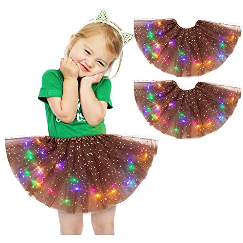 cover 2 Stück Baby Kinder Mädchen Kleidung, Pailletten Tütü Rock Mit LED Licht Ballettkleid Mädchen 2-8 Jahre