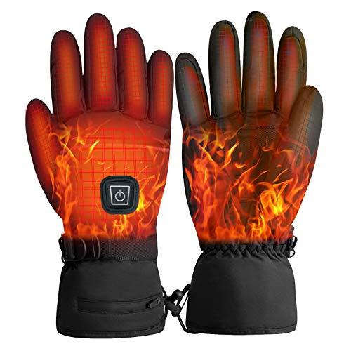 GXZOCKBeheizbare Handschuhe Akku beheizbare handschuhe Damen Herren Wiederaufladbare wasserdichte 3 Heiztemperatur einstellbare Touchscreen Beheizte Handschuhe für Radfahren Motorrad Winterski