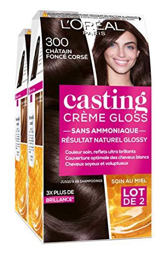 L'Oréal Paris Casting Crème Gloss Coloration Ton sur Ton pour Cheveux - Sans Ammoniaque - Châtain Foncé Corsé (300) - Lot de 2
