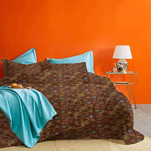 prunushome Abstract Bed Set Colorful Dots and Flowers Curved Doodle Style Line Art Design on Brown Background Best Hotel Luxury Bedding Multicolor 3 Piece (1 Duvet Cover and 2 Pillow Shams) Twin Size
