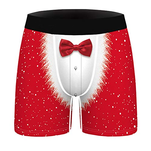 Dasongff Herren Basic Boxer Boxershort Unterhose Lustige Weihnachten Drucken Unterhosen Trunks Unterwäsche Bunt Retroshorts Men's Underwear Männer Hipster Modal Unterwäsche (Beige, L)