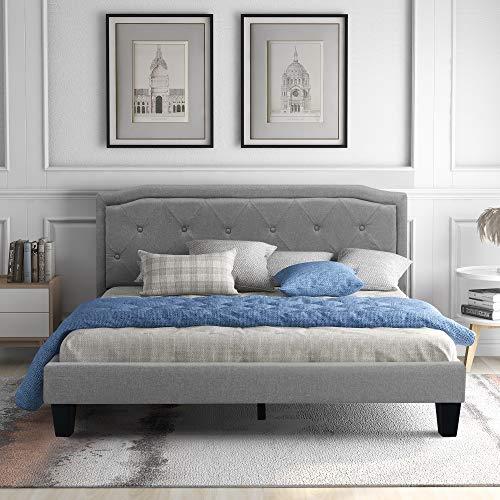 Doppelbett Polsterbett 140x200, Modernes Polsterbett, Bettgestell mit Lattenrost Stauraum, Gepolsteres Bett mit Dekoknöpfen Kopfteil,für Schlafzimmer, in hellgrau Bezug (GRAU-140 * 200CM)