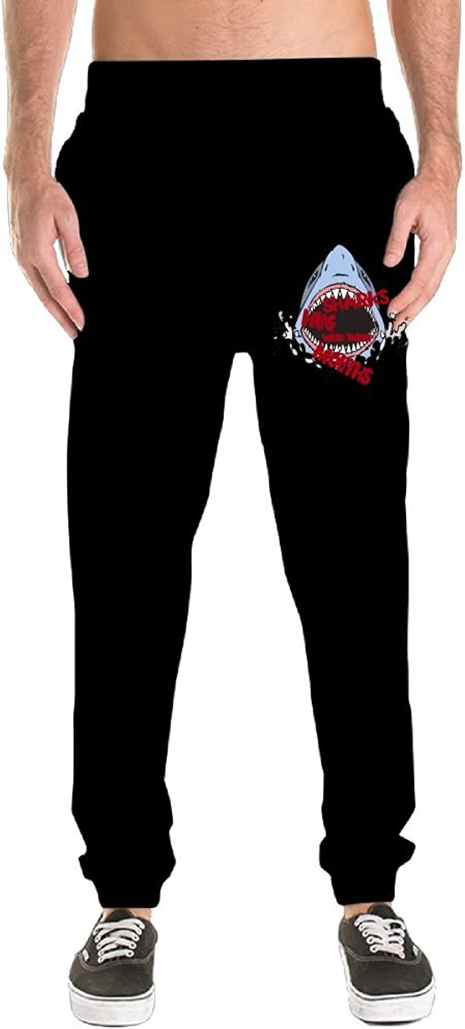 ZOJINYUA 01 Cute Sharks Hug With Their Mouths Sweatpants Running Pants For Men