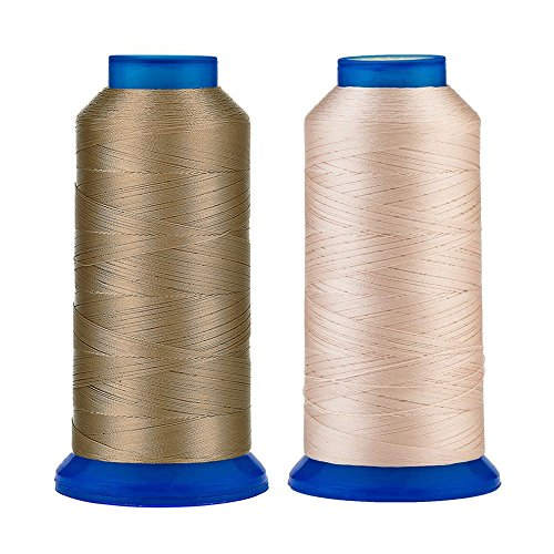 Selric [3000Yards/Khaki+Beige] Pack of 2 UV Resistant High Strength Polyester Thread #69 T70 Size 210D/3 for Upholstery, Outdoor Market, Drapery, Beading, Purses, Leather
