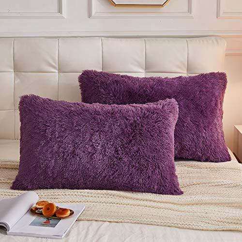 LIFEREVO 2 Pack Shaggy Plush Faux Fur Decorative Throw Pillow Cover Velvety Soft Cushion Case (Purple, King)