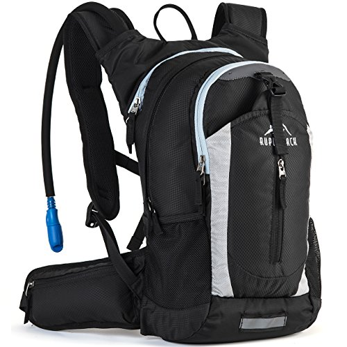 RUPUMPACK Insulated Hydration Backpack Pack with 2.5L BPA Free Bladder - Keeps Liquid Cool up to 4 Hours, Lightweight Daypack Water Backpack for Hiking Running Cycling Camping, 18L (Black)