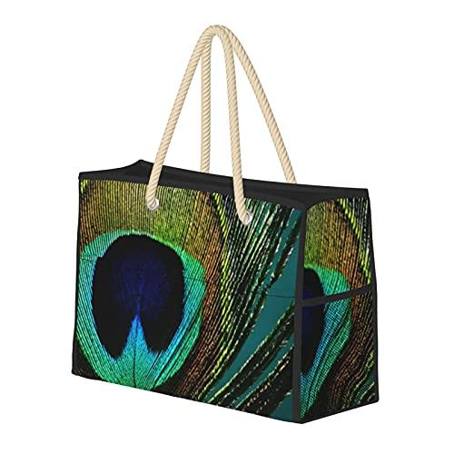 Bolsas de playa para mujer Boho Chic de plumas de pavo real grande bolsa de viaje bolsa de almacenamiento bolsa de semana bolsa de piscina bolsa de hombro para playa viajes gimnasio