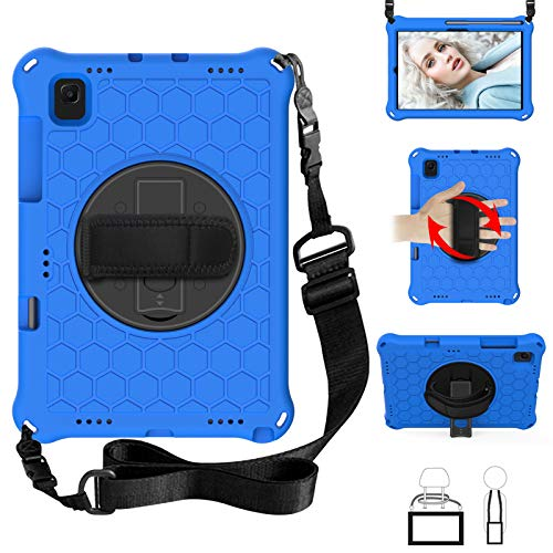 QYiD Kids Case for Galaxy Tab S5e Case 2019, Light Weight Non-Toxic EVA Shockproof Case Rotatable Strap, Pencil Holder & Shoulder Belt for Galaxy Tab S5e 10.5 inch 2019 SM-T720/T725/T727, Blue/Black