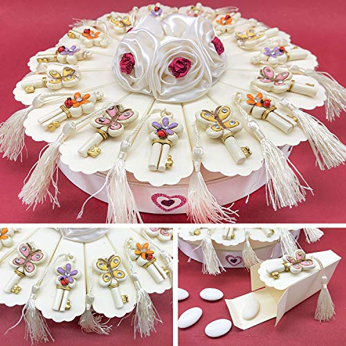 Ingrosso e Risparmio Estructura con forma de tarta de cartón con 15 porciones para peladillas y llaves con flores, mariposas y borlas, para regalo de cumpleaños, comunión (con peladillas rojas)