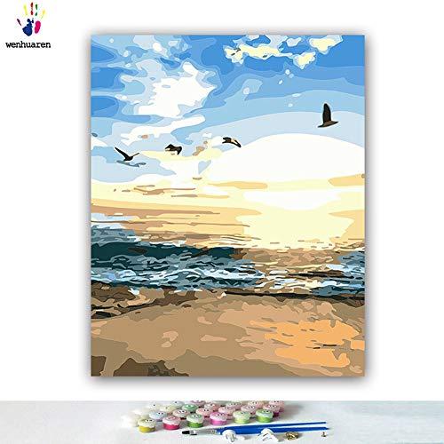 Kit de pintura al óleo para niños, estudiantes, adultos principiantes con pinceles y pigmento acrílico, vista de navegación de mar Sunrise Sunset Azure Water Geese
