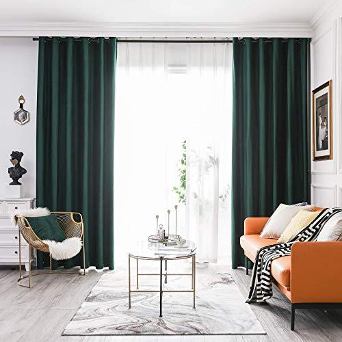 FY FIBER HOUSE Super Soft Luxury Heavy Velvet Curtains Blackout Grommet Curtain Panel Drapes with Heavy Microfiber Lining Dark Green
