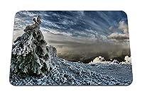 22cmx18cm マウスパッド (モミの木雪重量空雲闇蒸気冬) パターンカスタムの マウスパッド