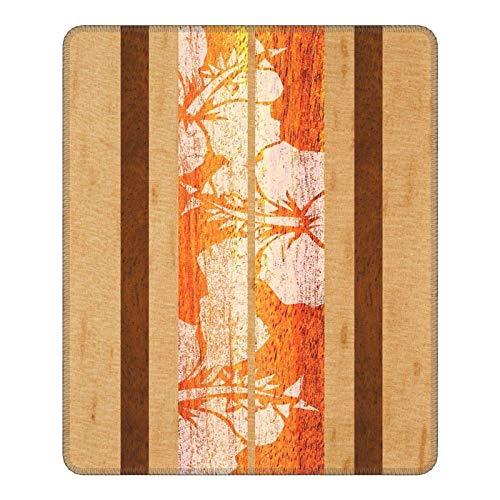 W25cm X L30cm Almohadilla para Ratón Tabla Surf Haleiwa Hawaiian Faux Maple Wood - Naranja cómoda Almohadilla de Espuma viscoelástica Antideslizante