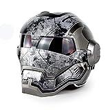 Motorcycle Helmet - D.O.T Certified Motocross Full Face Casco Moto Flip Open Mask Helmet, Iron Man Transformers- Retro, Bright Gray,L(57~58CM)
