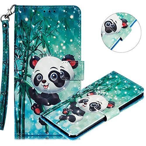 MRSTER Nokia 3.1 Plus Handytasche, Leder Schutzhülle Brieftasche Hülle Flip Hülle 3D Muster Cover mit Kartenfach Magnet Tasche Handyhüllen für Nokia 3.1 Plus 2018. LL 3D Cute Panda