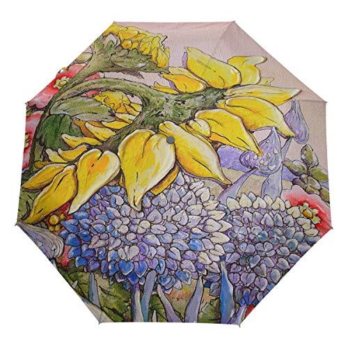 AOTISO Art Sunflowers Floral Auto Umbrella Winddichter Reiseschirm Leichter kompakter Sonnenschirm
