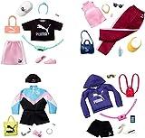 Barbie GJG29 - Moden für die Barbie-Puppe: PUMA Modeset mit einem Outfit und 6 Accessoires, Shorts und Sweatshirt -