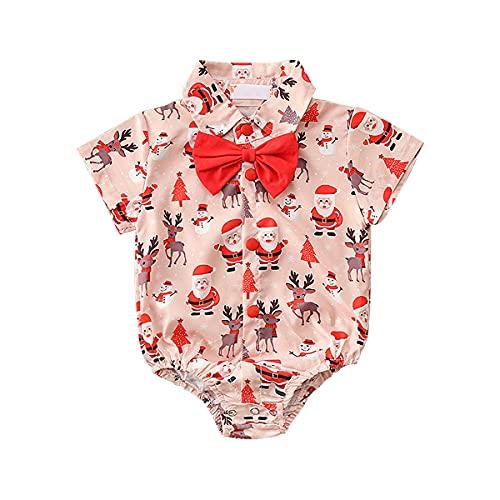 Bebé Niños Formale Camisa de Manga Corta con Caballeros Pajarita Verano Camisas con Estampado Papá Noel Alce Árbol Monigote de Nieve Mameluco de Algodón Monos de Carnaval de Navidad Rojo 0-6 Meses