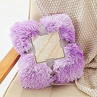 シェルパ ふわふわ ぬいぐるみ 毛布,シャギー 暖かい 可逆 スロー もうふ,ブラシ 羊毛 もうふ,ソファ 旅行 毛布,洗える 装飾 毛布 ファジィ エレガント ロングヘア スロー-ライトパープル 80x120cm(31x47inch)