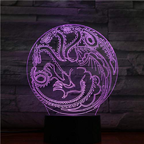 Illusionslampe 3D Nachtlicht Game Of Thrones Bunte Berührung Führte Dekorative Ornamente Usb-Tischlampe-Basis Mit Wecker_Game Of Thrones Dragon