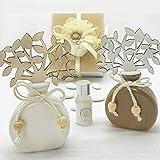 Profumatori per ambienti in ceramica bianca o tortora con albero della vita in legno, bomboniere utili nozze, battesimo, comunione, completo di scatola regalo (Bianco-senza confezionamento)