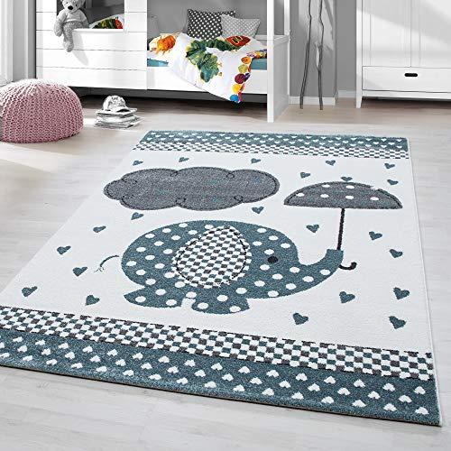 HomebyHome Alfombra Infantil diseño de Elefante Habitación Infantil para bebé Gris Azul rectángulo Redonda, tamaño:160 cm Redondo