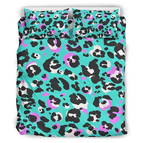 Charzee Leopard Print Blue Chic Design Bettbezug Duvet Quilt Und Kissenbezug All Seasons Soft Einzelbett Bettwäsche Sets für Jungen Mädchen with Zip Closure White 229x229cm